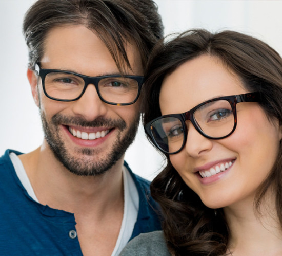 A young couple eyewear shopping together